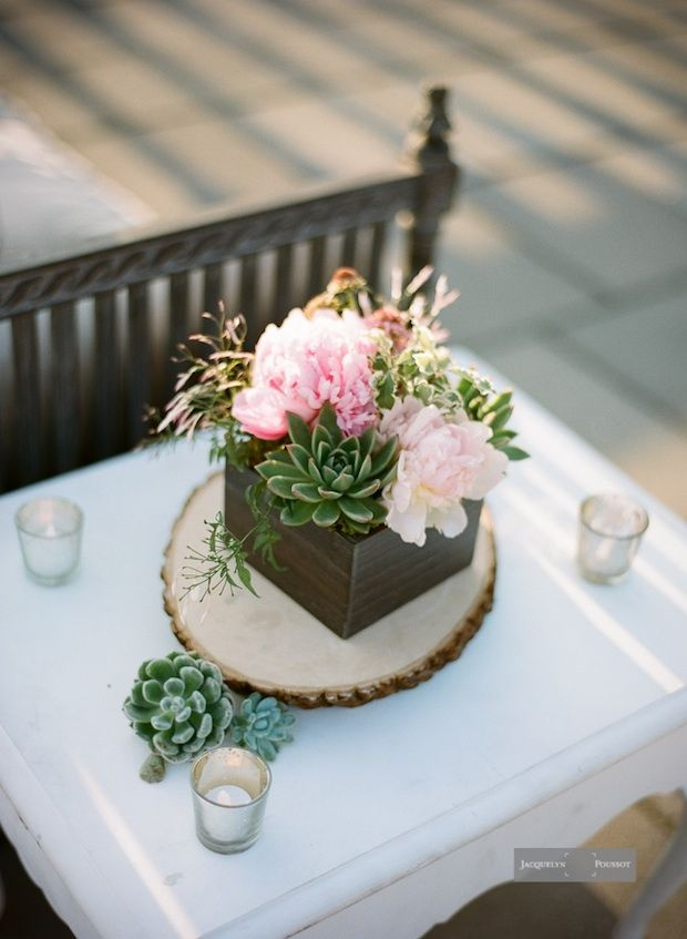 Succulent Wedding Centerpieces | ... Wedding Reception Lounge Succulent and Peony Centerpiece Jacquelyn