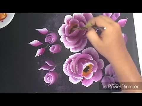 Pintar Flor facil con pincelada en Azul - YouTube