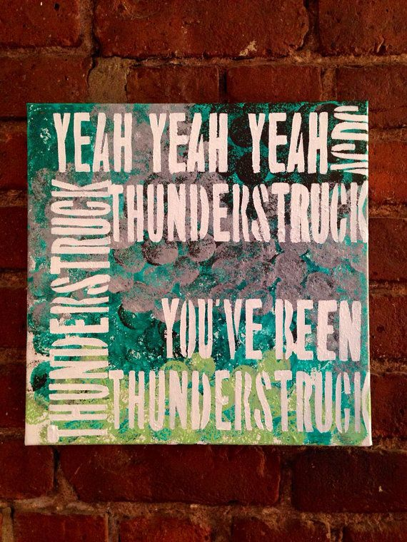 You've been STRUCK // Classic ACDC - Thunderstruck music lyrics acrylic Painting  // Abstract, Colorful, Cheap, Fun Wall ART on Etsy, $50.00