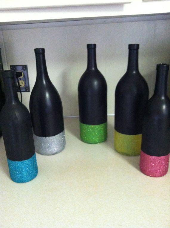 Glittered Chalkboard Wine Bottle by SouthernlyCrafted on Etsy, $12.00