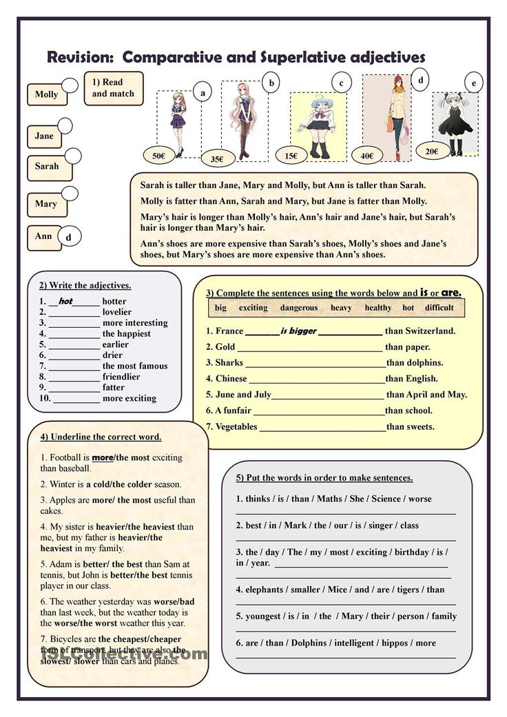 Revision: Comparative and Superlative adjectives