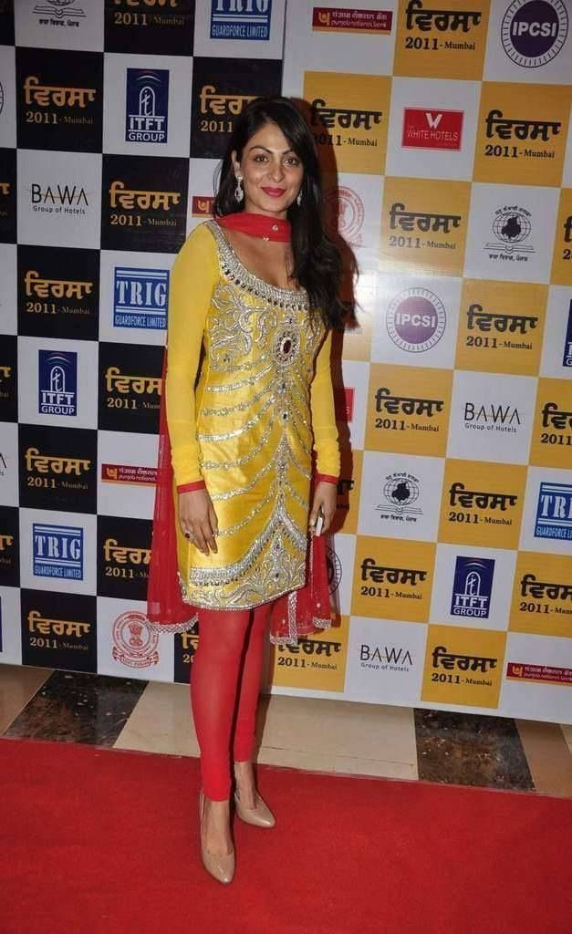 Yellow and red punjabi suit