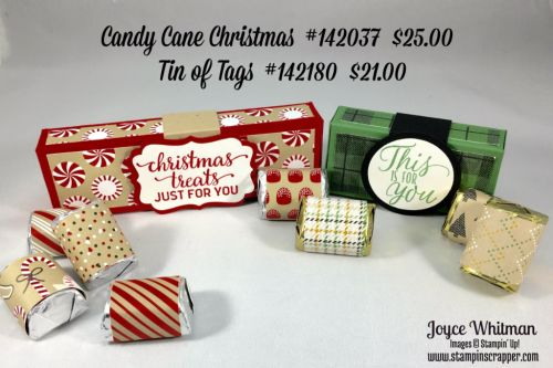 """stampin up, Stampin' Up! Candy Cane Christmas #142037, Tin of Tags #142180, Candy Cane Lane DSP #141981, Warmth and Cheer DSP stack #141991, Decorative Label #120907, 1 1/2"""" circle punch #138299, 1 3/4"""" circle punch #119850, made by stampin scrapper, if you would like more ideas for cards, scrapbooking and gifts go to stampinscrapper.com"""