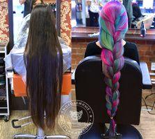 Цветное окрашивание в несколько цветов на очень длинные волосы. Kawaicat