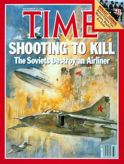 "September 1, 1983: Soviet Air Force Major Gennadi Osipovich, ""piloting an Su-15 Flagon, shoots down Korean Air Lines 007, a Boeing 747-230B that had wandered off-course into Soviet airspace while flying from New York via Anchorage to Seoul."" the Cold War"