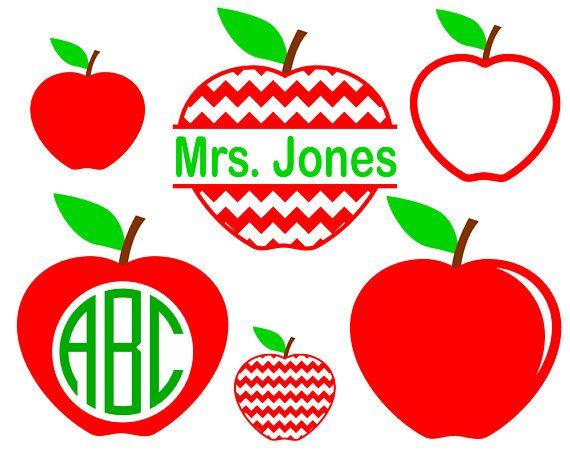 6 Apple SVG files for Teacher SVG Apple Monogram Frame