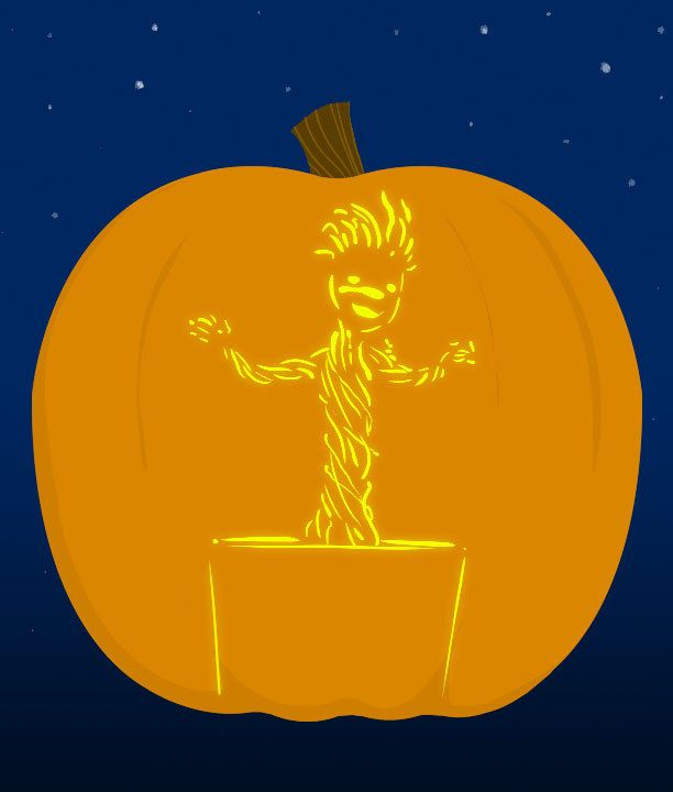 8. Baby Groot - submitted by Rob Cariño | 18 Insanely Clever Pop Culture Stencils To Up Your Pumpkin Carving Game