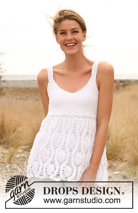 """DROPS 128-25 by DROPS Design   """"Cute top for the summer!""""  Crochet DROPS top in """"Safran"""". Size: XS - XL."""
