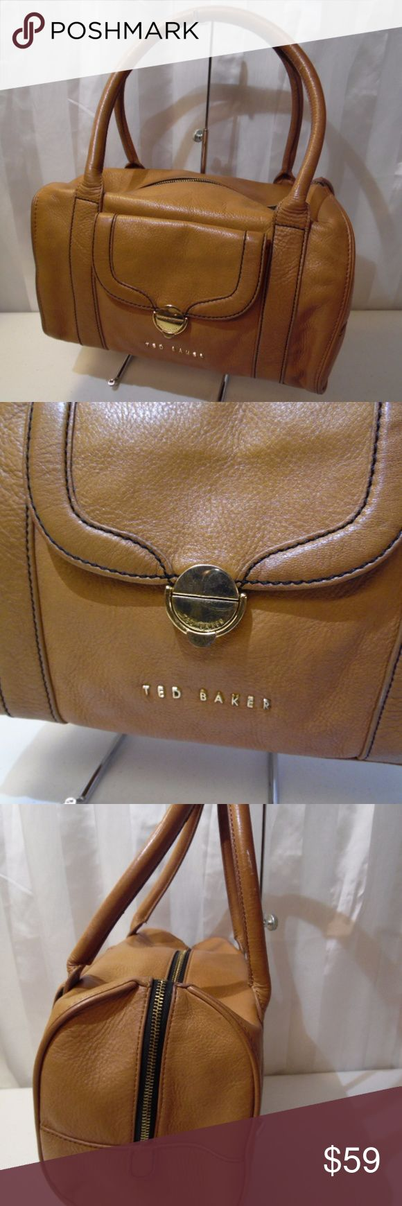 """Ted Baker London Soft tan leather hand bag satchel Size 11.5-8-5- ...8"""" drop., in excellent condition. gently worn. light scuff on handle pic 3..visible tiny white stain dots on back side pic 4...very clean and pristine. Ted Baker Bags Satchels"""