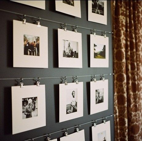 A way to hang family photos...all of the items are available at IKEA, I've always loved these, need to find somewhere to put them!