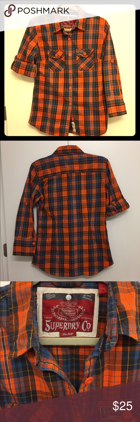 Superdry twill lumberjack plaid button down, large Superdry women's Lumberjack shirt, orange/blue plaid, size large. Brushed cotton twill with twin chest pockets. Superdry Tops Button Down Shirts
