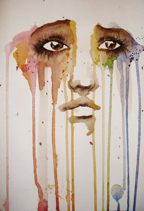 coloursInspiration, Negative Spaces, Art, Silhouettes Cameo, Sadness And Tears, Water Colors, Weights Loss, Watercolors Painting, Eye