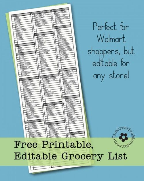 Shop more quickly with this printable and editable grocery list from OneCreativeMommy.com. No more backtracking to find items you missed because your list was unorganized! {It's editable, too!}: