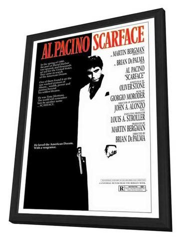 Scarface 27 x 40 Movie Poster - Style A - in Deluxe Wood Frame Amazing Movie Poster, Comes ready to hang, 27 x 40 inches poster size, and 29 x 42 inches in total size framed. Cast: Paul Shenar