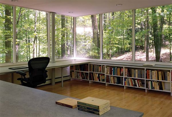 "epic forest office. ""The Scholar's Library in Olive Bridge, New York by local architecture firm Gluck & Partners is an unusual raised house plan surrounded by lush, leafy woods."""