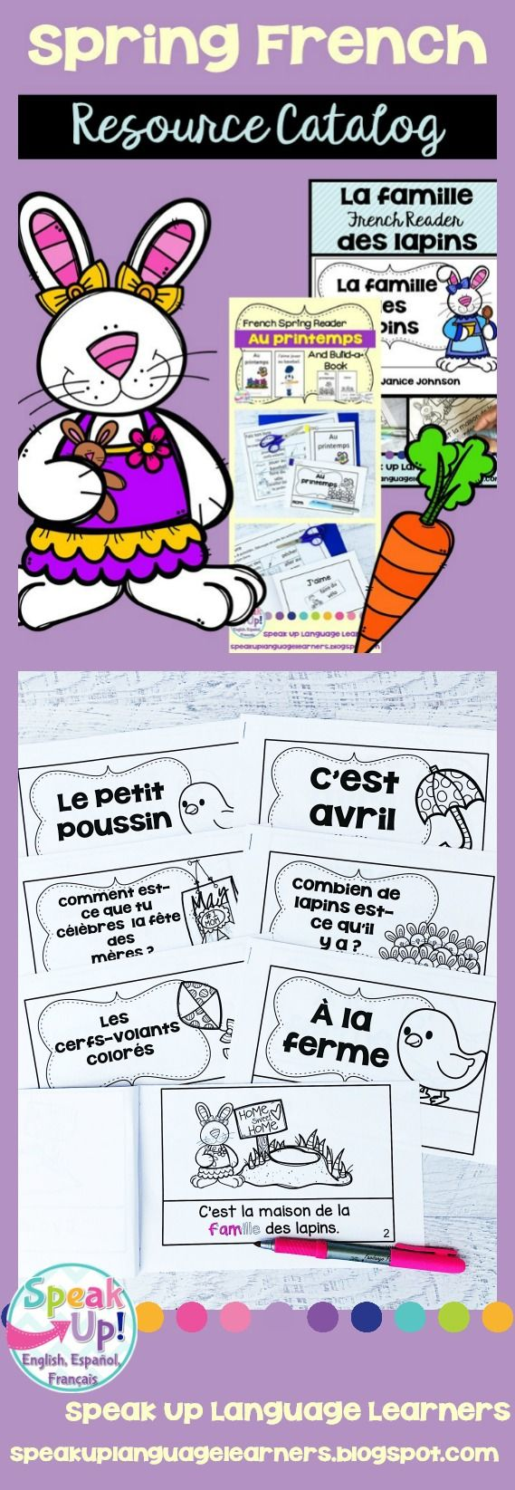 This is a clickable catalog to make browsing the Speak Up Language Learners Spring resources for French class easier than ever!   With this free download you are able to see spring items grouped by topic and with clickable images.