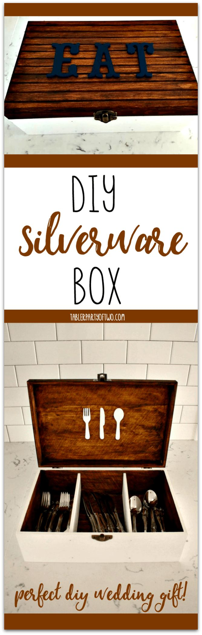 This DIY Silverware Box is so dang cute. Plus, it's such a perfect gift you can make — instead of buy — for the next couple you know who is getting married! It's so much cuter than any box you could find at a fancy store. Tabler Party Of Two | TablerPartyOfTwo.com