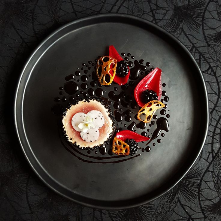 Black Sesame-Crusted Tuna, Pickled Onion, Blackberry, Dragon Fruit, Lotus Root and Squid Ink Sauce