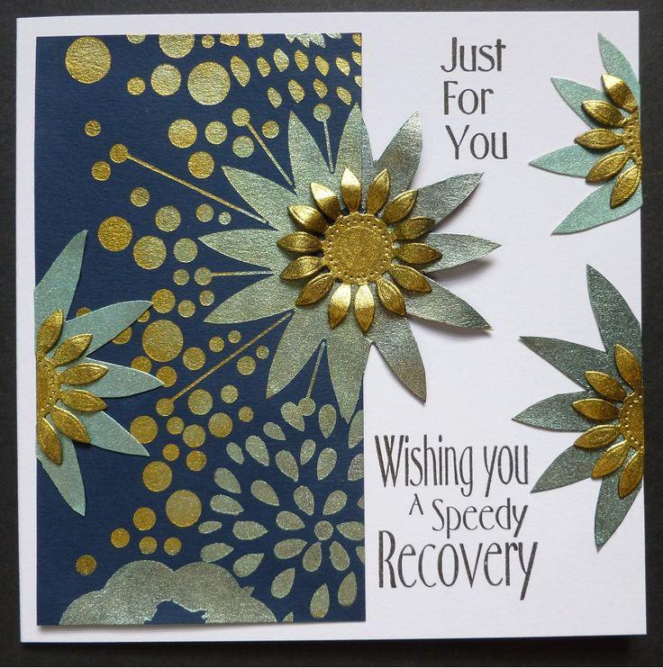'Flower Burst'  Card. - Imagination Craft's- Mixed Media Art stencil no. MU-42.  Jade & Rich gold Starlight gold.  Stencil brush.  Black inkpad.  Magi-bond glue.  Spellbinder's flower die.  June 2017.  Designed by Jennifer Johnston.