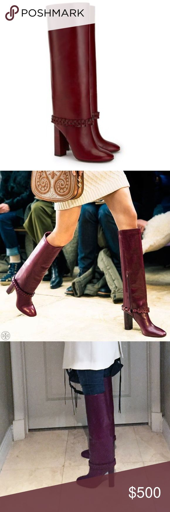 🔥Cranberry red knee high boots 🔥 Tory Burch - 2016 fall runway: a Seventies-inspired stovepipe style that looks great with jeans and shorter shirtdresses. made of smooth leather that will develop a rich, well-worn appearance over time. Complete with a braided strap around the ankle and a high stacked-wood heel, it can bring a Hot element to any look. Tory Burch Shoes Over the Knee Boots