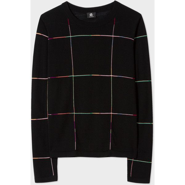 Paul Smith Women's Black Merino Wool Stripe-Check Sweater (€245) ❤ liked on Polyvore featuring tops, sweaters, slim fit sweater, merino wool sweater, multicolor striped sweater, merino sweater and slimming tops