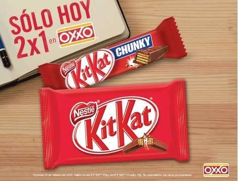 Oxxo 2x1 en chocolates Kit Kat