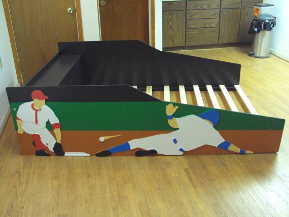 Baseball themed kids full size bed frame by TradecraftSpec