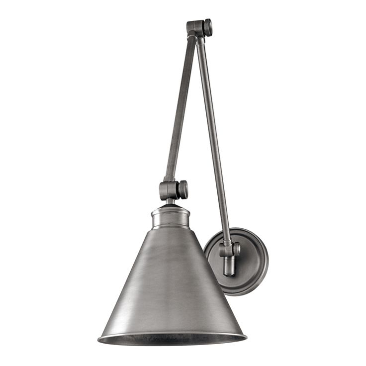 Exeter Wall Sconce | Hudson Valley Lighting // Sleek, sharp, and shaped for superior functionality: Exeter is a testament to the principles of modern design. The backplate's swivel joint works in conjunction with three arm joints to allow precise adjustment of the lamp's direction. Exeter's wide range of motion makes it an ideal reading lamp. Exeter also saves space when mounted above a desk, to illuminate bill-paying and other household tasks.
