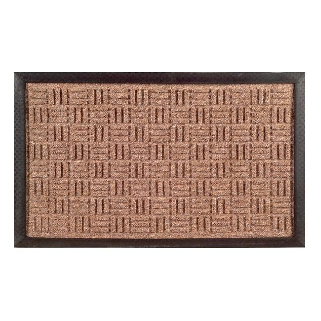 Greet your guests with a tastefully functional rubber mat in brown with black trim. A beautiful woven design highlights this stylish door mat.