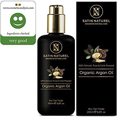 Bio Arganöl Fair Trade 200ml von SatinNaturel - höchste Qualität Kalt-gepresst in Lichtschutz Glas-Flasche - Serum für Anti-Aging, Anti-Falten junge Haut & Gesicht, Haare & Nägel