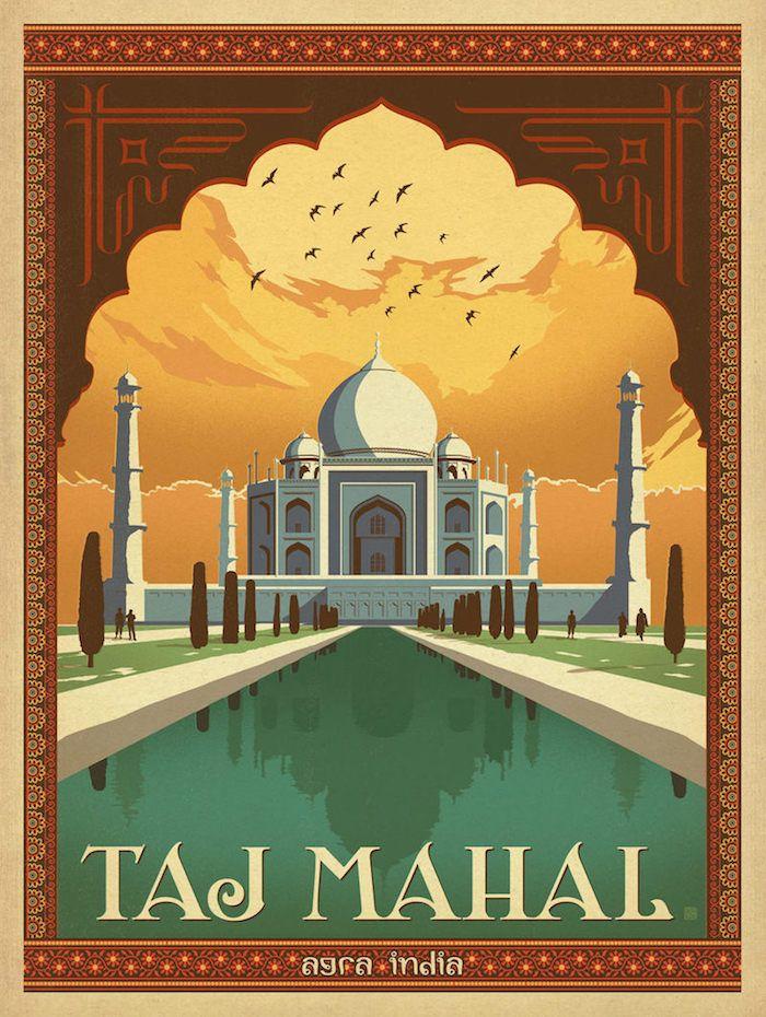 Taj Mahal, Agra India vintage travel poster