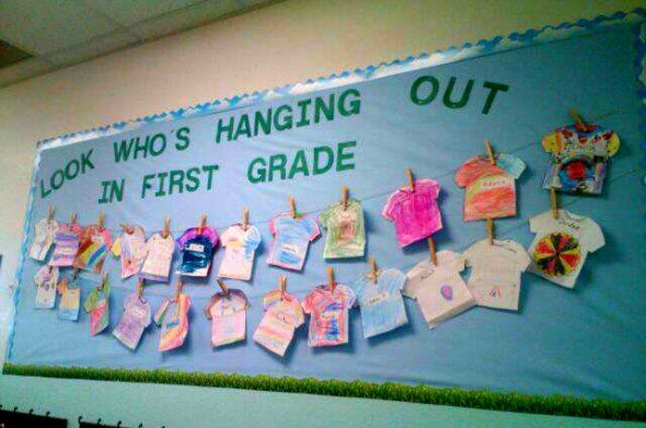 Classroom Bulletin Board Pictures...I like the idea of putting different artists' work on the shirts to make it an art display.