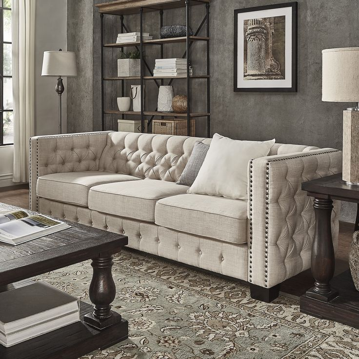 Knightsbridge Beige Linen Tufted Fabric Nailhead Sofa By SIGNAL HILLS |  Overstock.com Shopping   Part 61