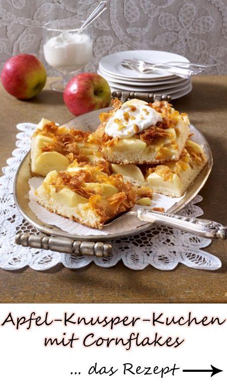 Apfel-Knusper-Kuchen mit Cornflakes - wir lieben diesen Blechkuchen! ZUM REZEPT >>>