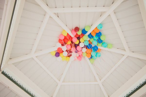 colorful balloons on the ceiling