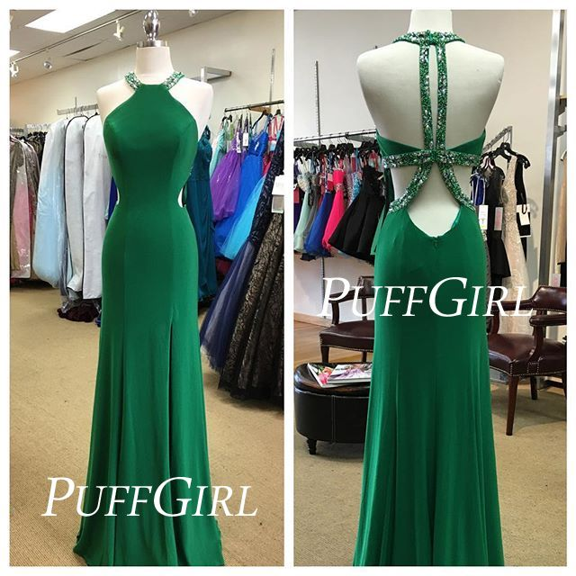 Emerald Green Fitted Jewel Neck Prom Dress With Open Back
