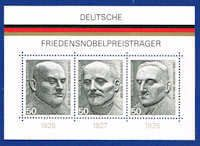 Germany 1203 Stamps - German Winners of Nobel Peace Prize Souvenir Sheet - EU GER 1203-1 SS MNH