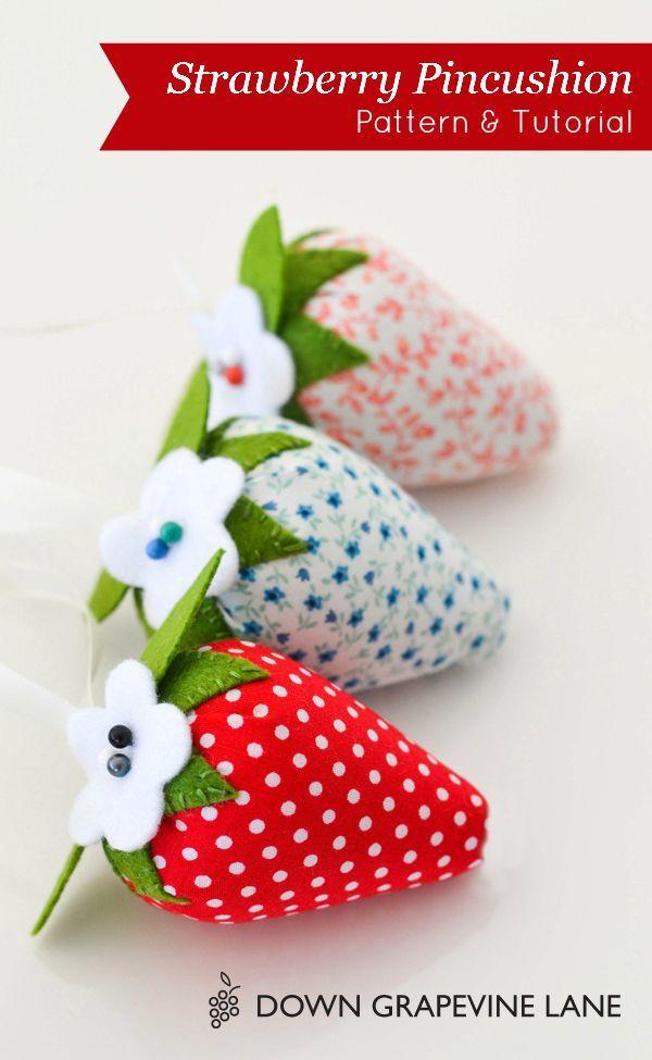 Sweet strawberry pincushion pattern and tutorial.