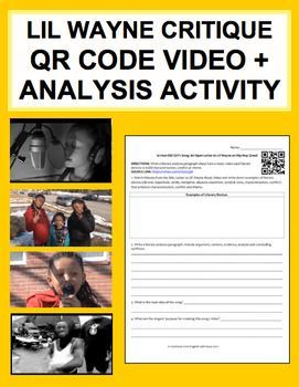 Lil Wayne Critique: Enforce CCSS: Writing, Reading Literature and Reading Informational Texts CCSS that are fun, relevant and engaging. 2 part activity perfect for any duration class period activity! Part 1: Watch music video & write literary analysis response paragraph. Part 2: Read informational text, paraphrase relevant details & summarize main ideas. #annotationactivities