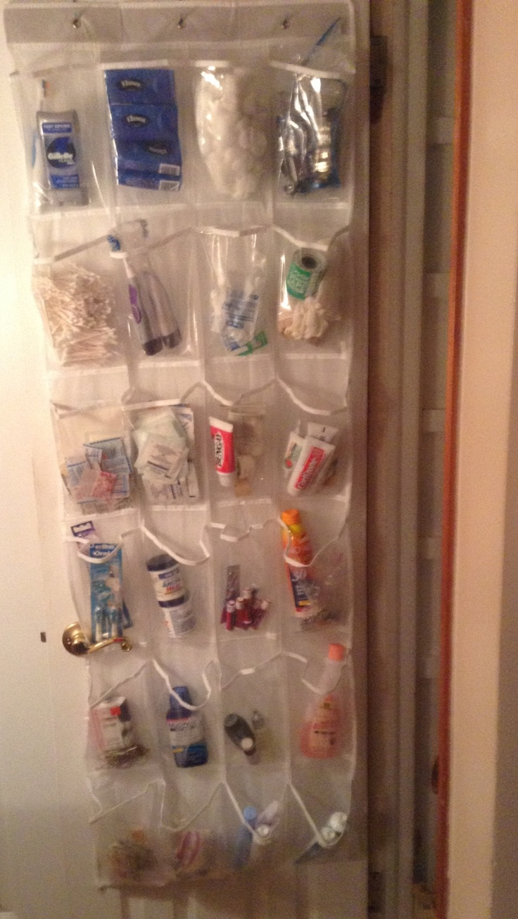 Bathroom closet organized now! Clear shoe bag did the trick!