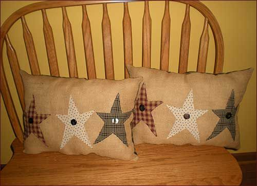 Primitive Burlap Star Pillow from Jillians Country Home My daughter purchased one of these adorable prim pillows for my birthday. It looks so cute in my living room in my windsor chair.