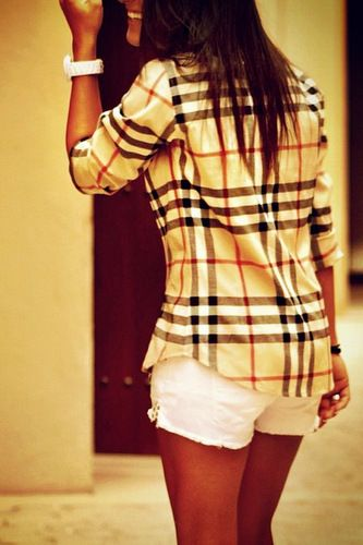 BurberryBurberry Shirts, Fashion, White Shorts, Style, Clothing, Burberry Outfit, Burberry Buttons, Plaid Shirts, Dreams Closets