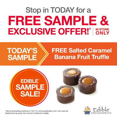 For those living or working near an Edible Arrangements location, today (10/21) you can score a FREE Salted Caramel Banana Fruit Truffles sample.