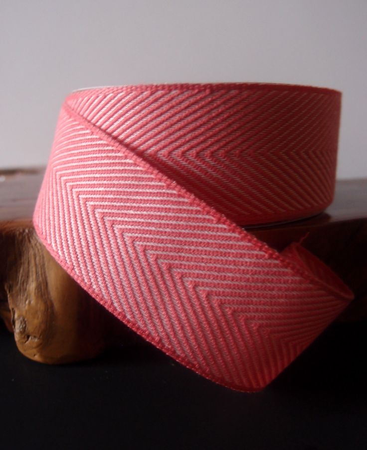 coral chevron herringbone ribbon
