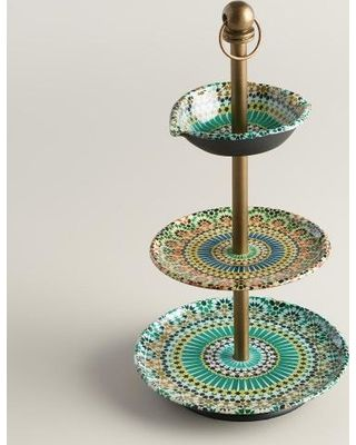 On Sale! Multicolor Mosaic Enameled Three-Tiered Jewelry Stand by World Market