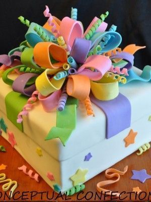 Gift Box cake. Love the ribbon idea used here.