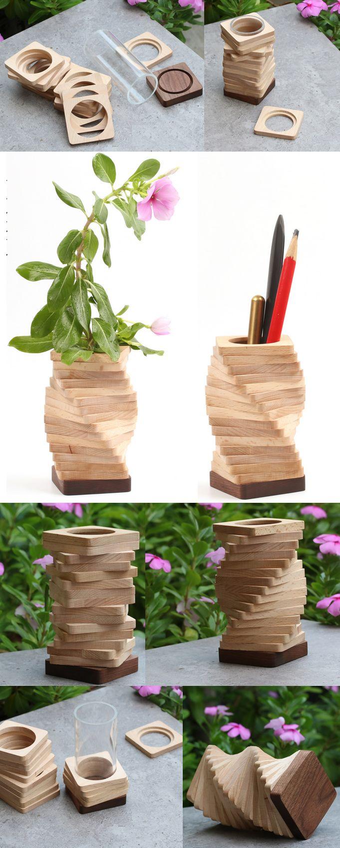 Handmade Wooden Flower Vase With Test Tube Wooden Bud Vase Test