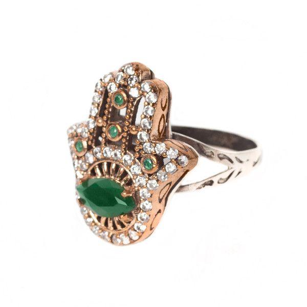 JJ Caprices - Emerald Hamsa Sterling Silver Ring - Armenian Jewelry