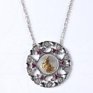 Osmanlı turalı temalı ve zirkon taş işlemeli, 925 ayar gümüş bayan kolyesi