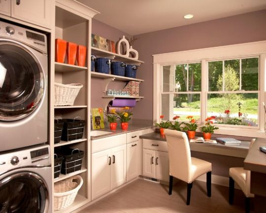 beautiful bright laundry home office combination space